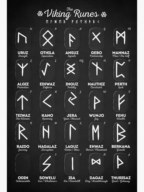 Viking Tattoos Discover Viking Runes Canvas Print by innasoyturk Viking Runes Elder Futhark Alphabet Millions of unique designs by independent artists. Find your thing. Elder Futhark Alphabet, Alphabet Symbols, Rune Symbols, Magic Symbols, Nordic Symbols, Norse Alphabet, Elder Futhark Runes, Glyphs Symbols, Witch Symbols