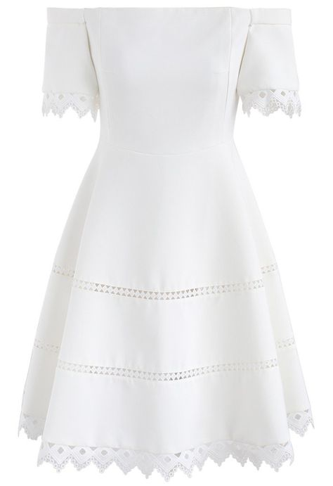 Grace Around You Off-Shoulder Dress in White - New Arrivals - Retro, Indie and Unique Fashion