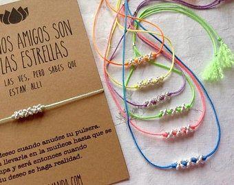 Pulsera De La Amistad Deseos Con Estrella En Plata De Ley Etsy Pulsera De La Amistad Pulseras Pulseras Con Significado