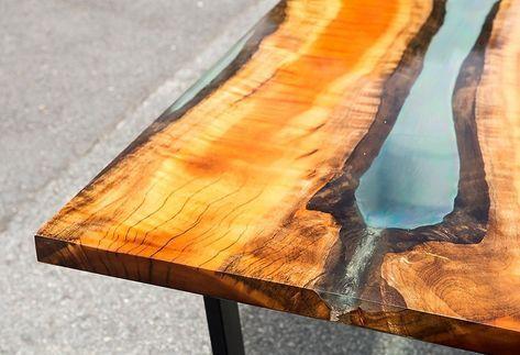 Anleitung: Epoxidharz Tisch aus Holz selber machen in 2020