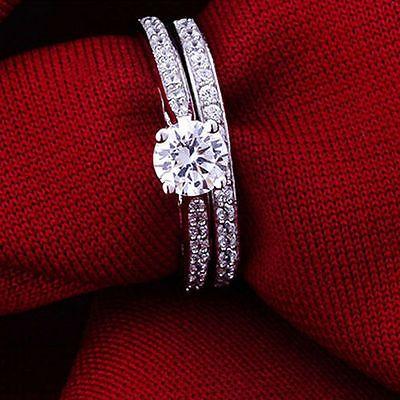 2PCs//Set New Women Charm Engagement Band Ring Crystal Jewelry Wedding