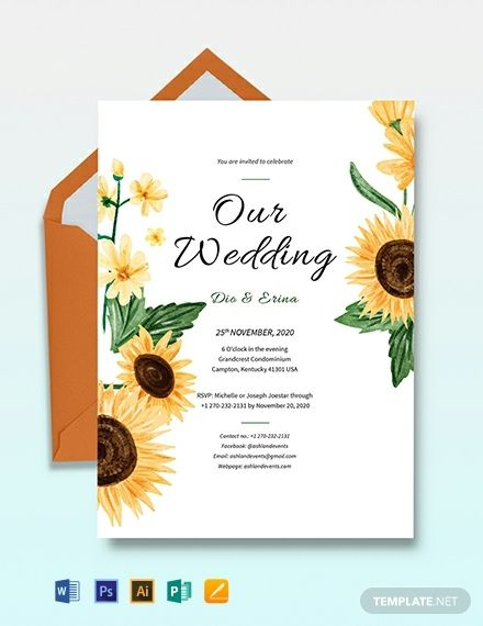 Pin By Lindsay Dembner On Invitations Sunflower Wedding Invitation Template Wedding Invitation Templates Free Wedding Invitation Templates