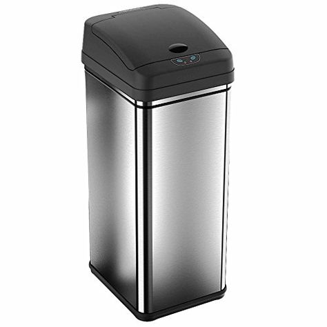 Deodorizer Filtered Stainless Steel Sensor Trash Can 13 Gallon 100 Touch Free Odor Free And Eliminates Cross Contamination Of Germs With Images Trash Can Trash Cans Trash