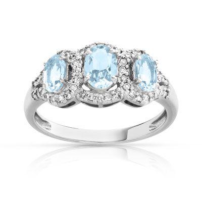 bague or 750 blanc aigue-marine et diamant