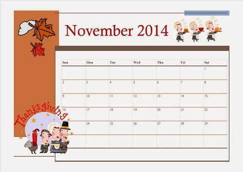 Free Printable November 2014 Calendar For Kids Thanksgiving