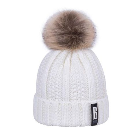 39c8c54066c WISH CLUB Winter Hat Knitted Thickened Cotton Women s Hat Warm Pom Poms Hats  For Women Girl Knitted Beanies Female Cap