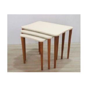 تسوق Thewoodenart طقم شنطة اربع ترابيزات خشب مع حامل خشبي اللون اوف وايت ذا وودن ارت جوميا مصر Wooden Tables Table Furniture