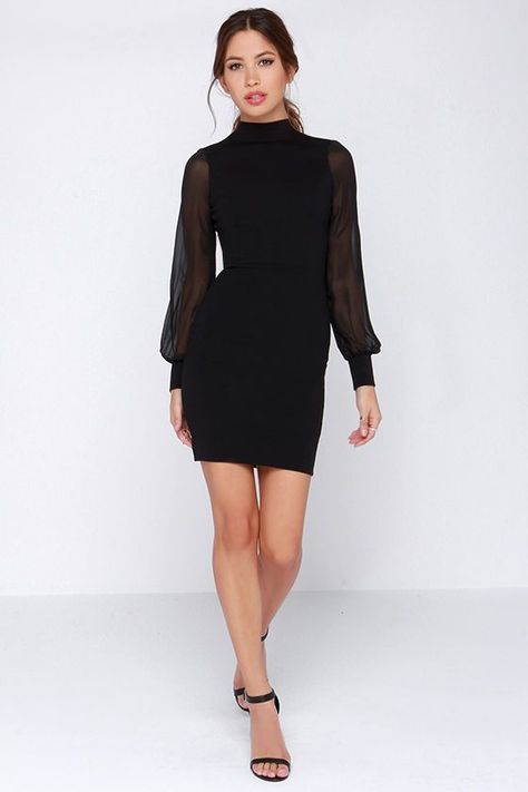 Go for a standout look with the Crowd Work Black Long Sleeve Dress! A princess seamed bodice with mock neck has bodycon fit, and triangular back cutout.