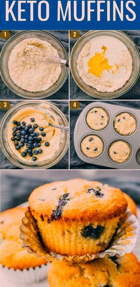 Simple blueberry muffins that are quick and easy to make, great for breakfast in the mornings. They're flourless (made with almond flour instead), healthy, and great for low carb or ketogenic diets. They're moist and fluffy, just like the real deal. Click the pin to find the recipe, nutrition facts, cooking tips, & more photos.#healthy#healthyrecipes#lowcarb#keto#ketorecipes#glutenfree#breakfast/ sweet berry recipes / baking breakfast ideas