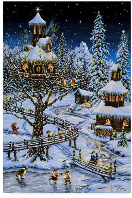 Jeff Tift 'Woodland Holiday' Canvas Art - 22  x 32