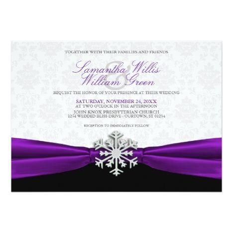 Purple Ribbon Winter Wedding Invitation Zazzle Com Winter