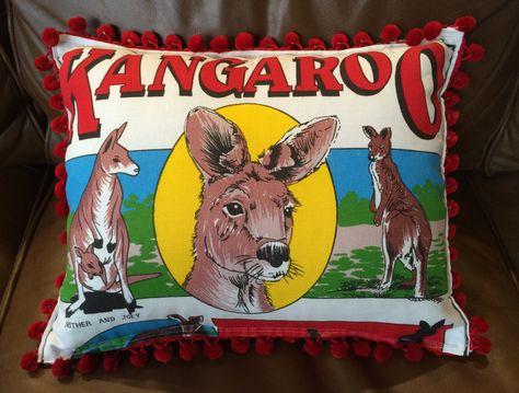 Retro cushion cover, Tea towel cushion cover, Kangaroo souvenir cushion cover, Handmade cushion cover by RetroMementos on Etsy