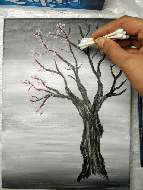 Art Discover Painting A Cherry Blossom Tree With Acrylics And Cotton Swabs Looking For An Cherry Blossom Painting Cherry Blossom Painting Acrylic Blossoms Art
