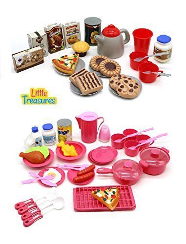 Mini Size Toy Dishes Foods and Drinks Kitchen Playset Kids ...