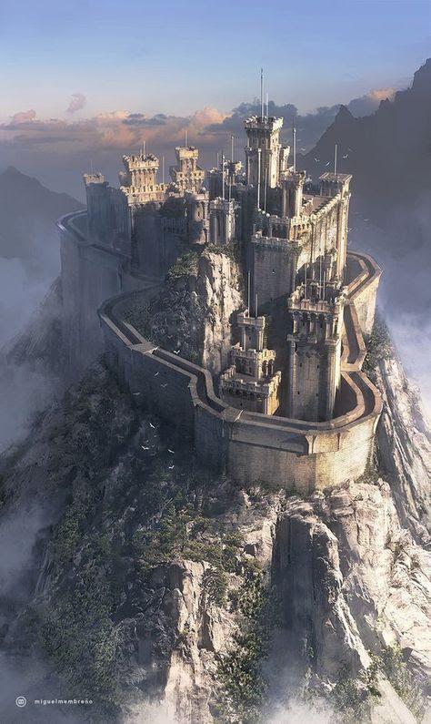 Castillo de la isla Dakna Fantasy castle Fantasy landscape Castle