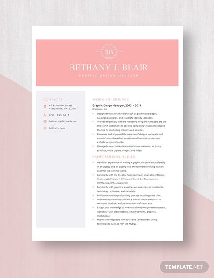 Graphic Design Manager Resume Template In 2020 Design Management Manager Resume Resume Template