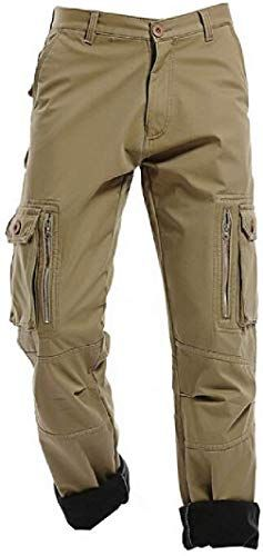 YYG Mens Casual Cotton Plus Size Multi Pockets Relaxed Fit Outdoor Cargo Pants