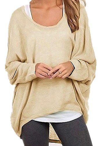 Womens Long Sleeve Baggy Sweater Pullover Ladies Casual Loose Autumn Baggy Tops