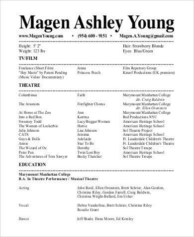 Free 9 Sample Theatre Resume Templates In Ms Word Pdf