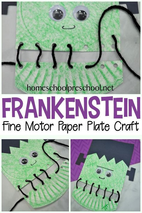 Frankenstein Fine Motor Paper Plate Craft for Halloween Your kids will love building their fine motor muscles as they lace up this super fun Frankenstein paper plate craft! Perfect for your Halloween crafting. Daycare Crafts, Classroom Crafts, Easy Crafts For Kids, Toddler Crafts, Creative Crafts, Theme Halloween, Halloween Arts And Crafts, Halloween For Kids, Halloween Crafts For Kindergarten