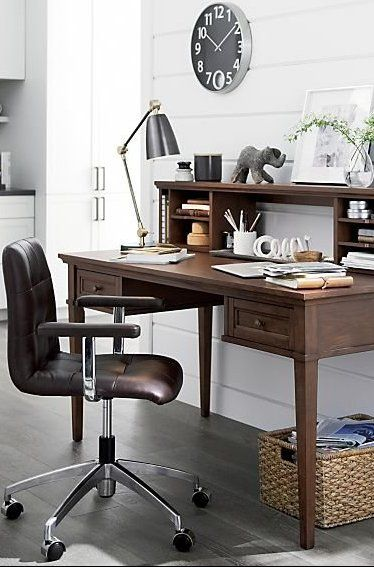 The Navigator Brown Leather Office Chair Navigates Compact Home Offices In A Streamlined Space Saving Design Modern Home Office Desk Home Leather Office Chair