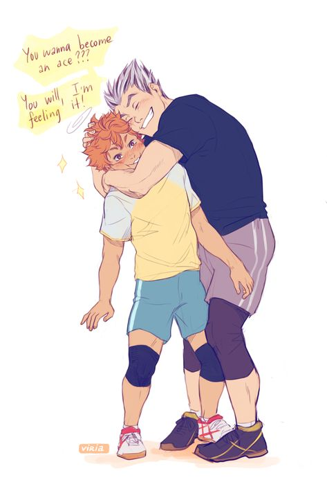 This is so cute! Bokuto and Hinata. Haikyuu Manga, Haikyuu Karasuno, Haikyuu Funny, Haikyuu Fanart, Haikyuu Ships, Kuroo, Manga Anime, Bokuto Koutaro, Bokuaka