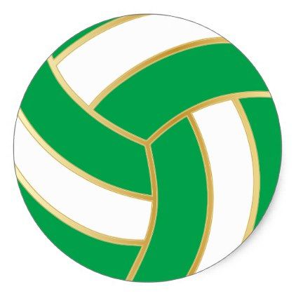 Green Gold And White Volleyball Classic Round Sticker Zazzle Com Round Stickers Green And Gold Classic