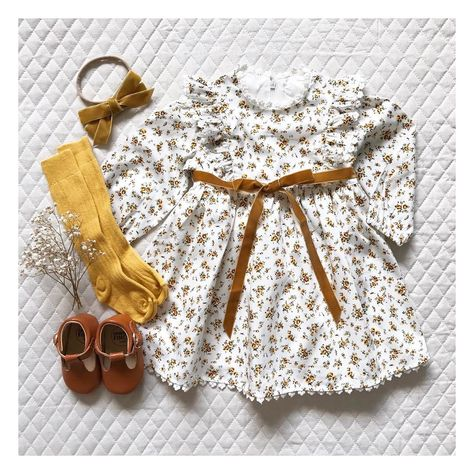 The vintage inspired 'favourite things' frock in the sweet blossoms floral and mustard velvet bow. Little Girl Outfits, Kids Outfits Girls, Little Girl Fashion, Baby Boy Outfits, Little Girls, Baby Wedding Outfit Girl, Child Fashion, Baby Girl Dresses, Vintage Kids Clothes