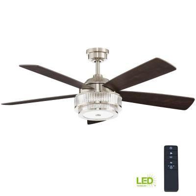 Home Decorators Collection Cirino 52 In Led Brushed Nickel Ceiling Fan Am550 Bn Brushed Nickel Ceiling Fan Ceiling Fan Ceiling Fan With Light