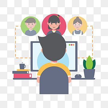 Online Meeting And Working From Home Concept Social Clipart Work From Home Man Png And Vector With Transparent Background For Free Download In 2021 Vector Illustration Design Cartoon Styles Illustration Design