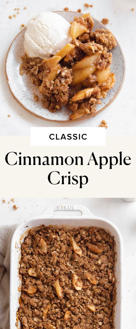 This easy apple crisp is perfectly classic apple dessert to whip up with all those fresh picked apples. With tender and crisp cinnamon apples and a buttery crumble topping, you'll love this perfect Fall dessert. We recommend serving it up with a big ol' scoop of vanilla ice cream for the ultimate Fall dessert.