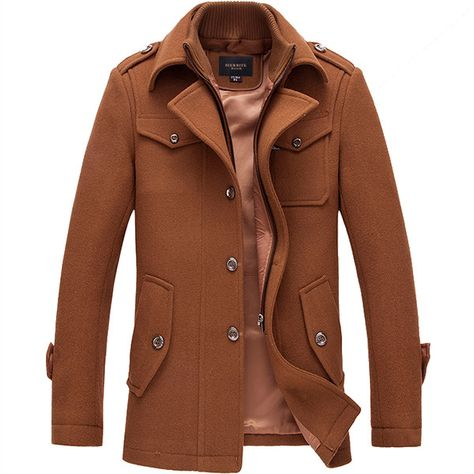 Sale 25% (88.09$) - Mens Winter Business Single-breasted Trench Coat Turn-down Collar Casual Suit Overcoat