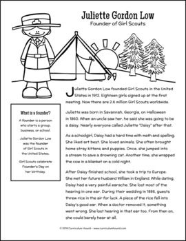 Juliette Gordon Low Biography Activity Pack Juliette Gordon
