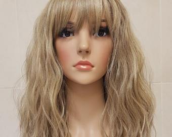Beautiful Human Hair Blend Brown Carmel And Blonde Mix Long Etsy In 2021 Natural Hair Wigs Human Hair Wigs Blonde Blonde Bob Wig