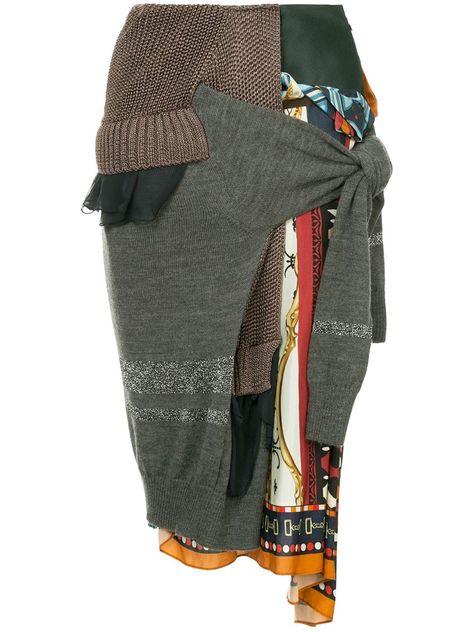 Kolor patchwork knitted skirt - Multicolour