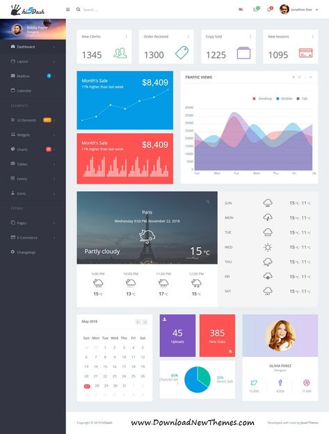Hi5Dash is a clean and modern design responsive #bootstrap #dashboard #template for custom #admin panels, CMS, CRM, SaaS, and web applications website to download & live preview click on image or Visit 👆 #ui #Ux