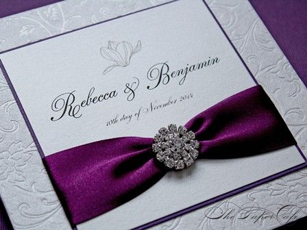 Wedding Invitation With Grape Ribbon Crystal Button Accent The