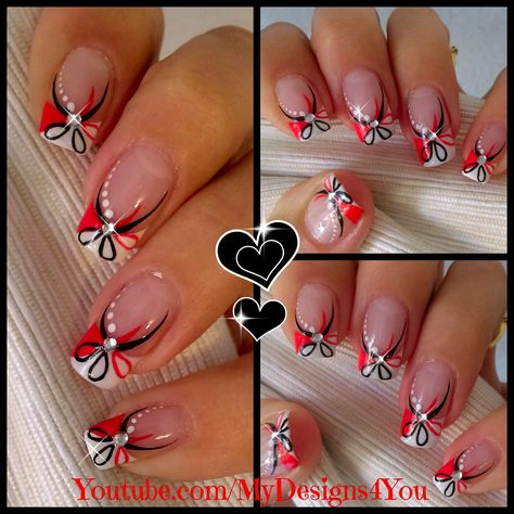 Red and Black Floral Nails