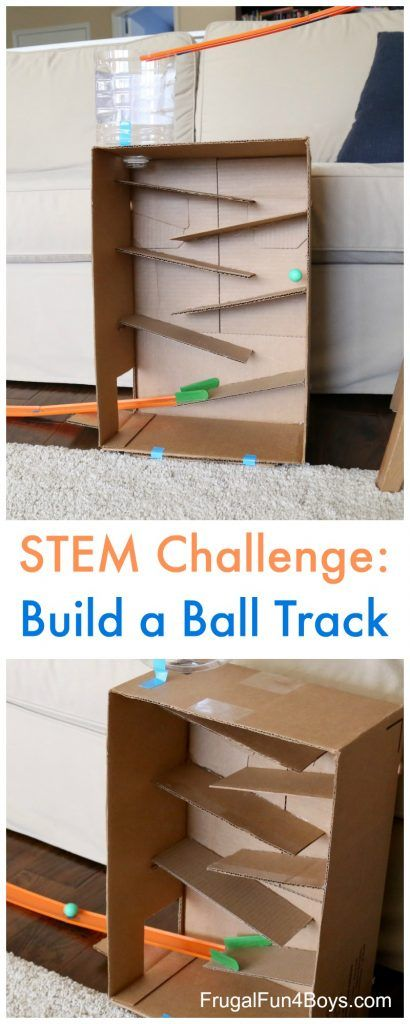 Stem Challenge Build A Cardboard Box Ball Track Frugal Fun For Boys And Girls Cardboard Crafts Kids Cardboard Boxes Kids Cardboard Box Crafts