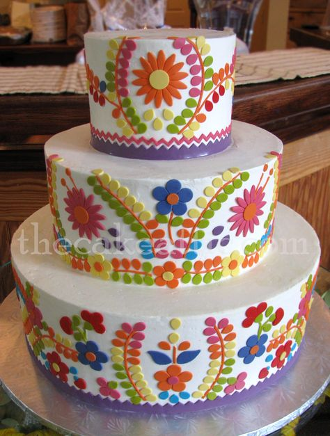 Mexican themed wedding cake by thecakeattic.com in Salisbury, NC.