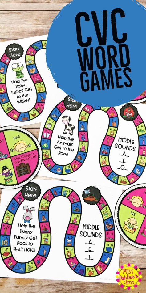 Cvc Word Games Identify Middle Vowel Sounds Cvc Words Cvc Word Games Cvc Word Activities