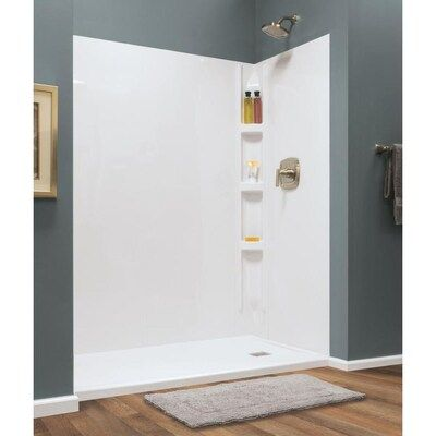Style Selections Hampton Glue Up Wall 60 In X 72 In White Shower Surround Back Wall Panel At Lowes Com In 2020 White Shower Shower Surround Wall Paneling