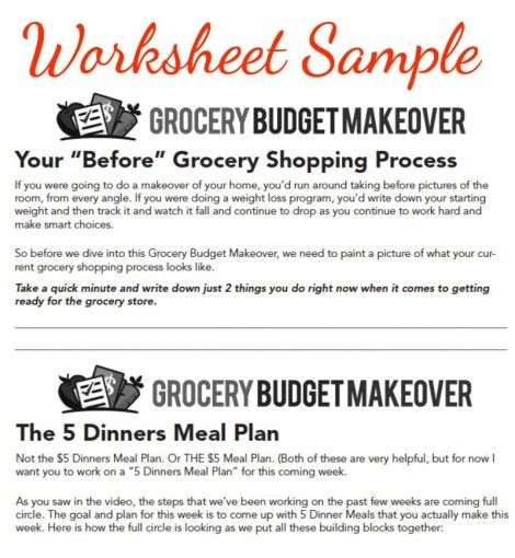 Sample Of Worksheets From My Grocery Budget Makeover Video Course