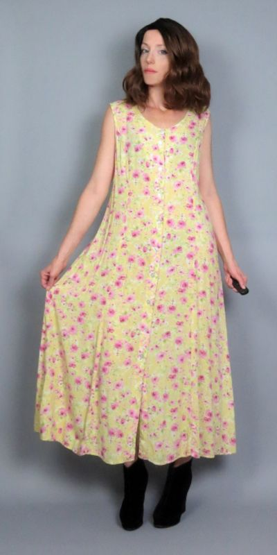 Vintage 90s Rose Floral Print Pink Maxi SMALL