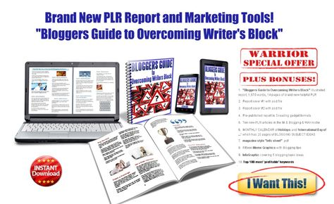 Bloggers Guide to Overcoming Writers Block - PLR Report+Articles+PRSEO