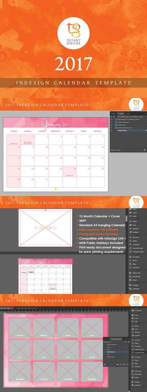 Calendar Template 2017 (InDesign) Pinterest Calendar template