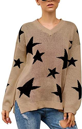 OnIn Womens Loose Fashion V Neck Pullover Sweater Casual Long Sleeve Knitted Tops