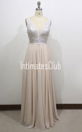 4e8f71eaffda Champagne A Line V Neck Chiffon Floor Length Appliques Lace Prom Dress