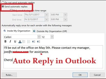 Set Up An Automatic Replies Out Of Office In Outlook Out Of Office Message Messages Out Of Office Reply