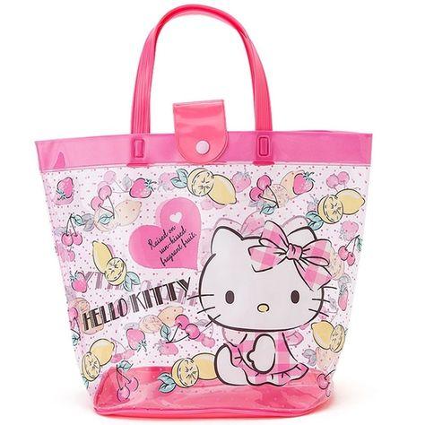 Sanrio Hello Kitty Beach Bag Clear Shopper Shoulder Tote Bag PVC Spa Bag  GKHK055  Sanrio cedd57dcffafb